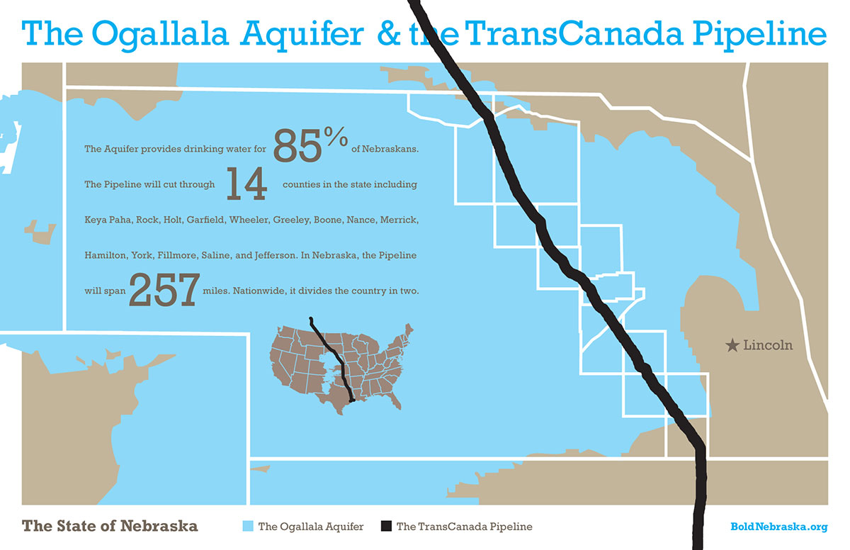 TransCanada Pipeline Bold Nebraska - Aquifer oil pollution us map