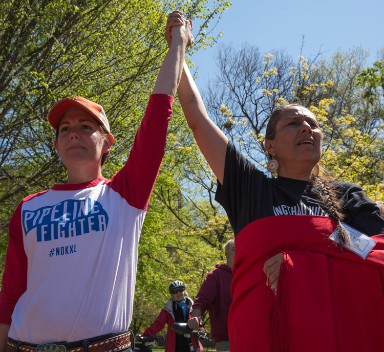 Jane Kleeb of Bold Nebraska and Casey Camp of the Ponca Nation at Reject + Protect (Photo: Mary Anne Andrei)