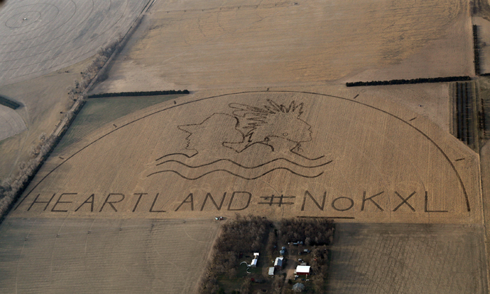 Crop art protest of the Keystone XL pipeline.