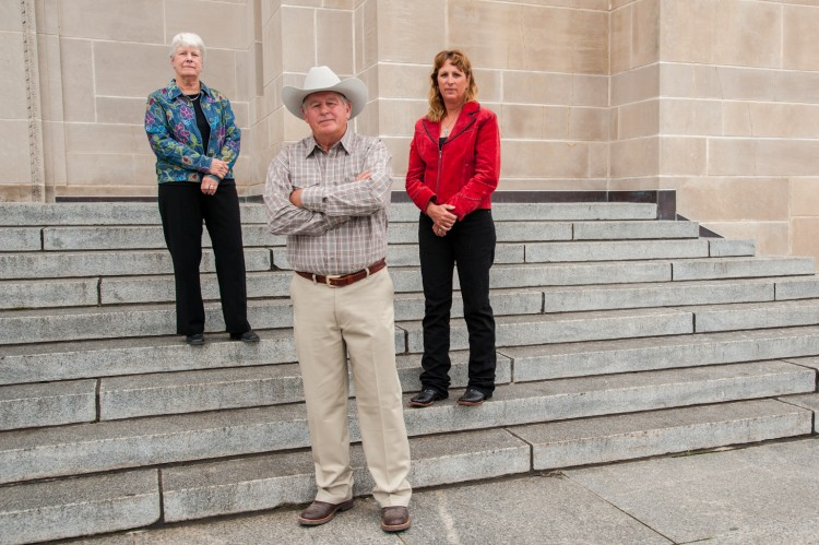 Landowners, Susan Dunavan, Randy Thompson, and Suz Straka, at the Capitol after the Nebraska Supreme Court hearing on September 5, 2014. (Photo by J Grace Young)