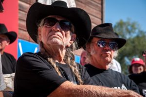 Willie Nelson and Neil Young at the press conference prior to the Harvest the Hope concert on September 27, 2014 (Photo by J Grace Young / Bold Nebraska)