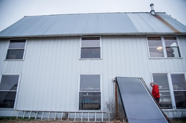 Solar water heater on the Friesen farm (Photo by J Grace Young)