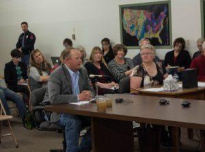 Landowner Brian Palm speaks against the proposed wastewater well at the Nebraska Oil & Gas Commission (Photo: Mark Hefflinger)