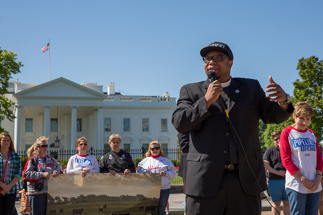 "Rev Yearwood speaks at the ""Reject & Protect"" closing ceremony at the White House"